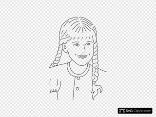 Girl With Braided Hair Outline