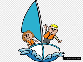 Kids Sailing SVG Clipart