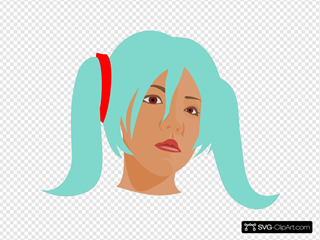 Girl With Blue Hair In Pigtails