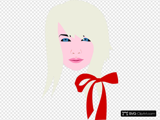 Blonde Female With Red Bow