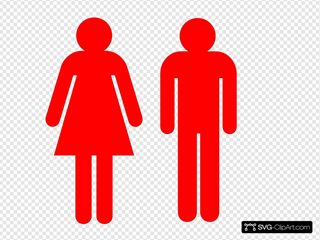 Boy And Girl Stick Figure - Red