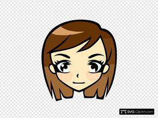 Manga Girl SVG Clipart