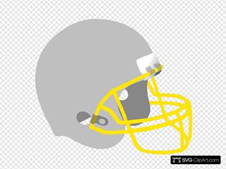 Football Helmet Gray Gold