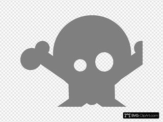 Gray Skull And Crossbones
