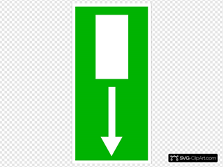 Green Emergency Exit - Down Clipart