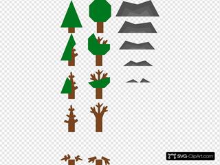 Trees Mountains Icons