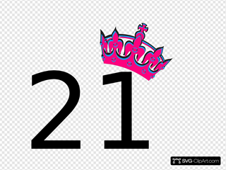 Tilted Tiara And Number 21 Svg Vector