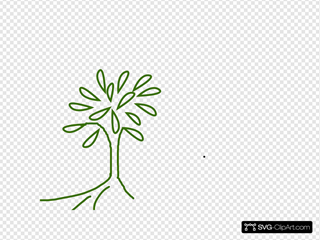Simple Leafy Tree Green With Roots