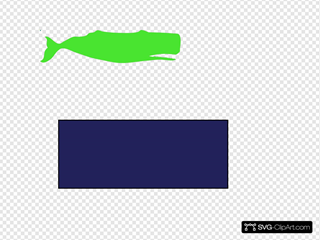Lime Green Sperm Whale Blue Background