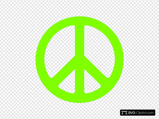 Neon Green Peace Sign