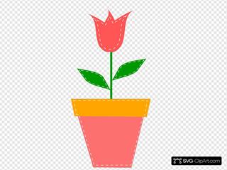 Tulip In Flower Pot