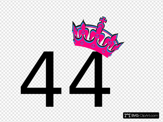 Pink Tilted Tiara And Number 44 Clipart