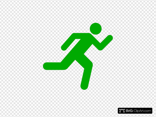 Green Running Icon On Transparent Background