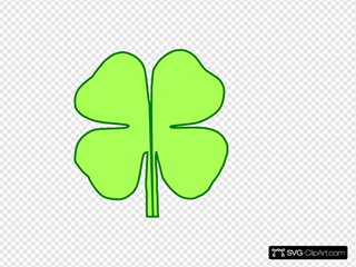 4 Leaf Clover Divided In Half Clipart