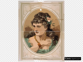 [bust View Of Woman, Wearing Rose In Hair And Green Dress]
