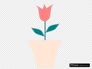 Tulip In Flower Pot Pastel