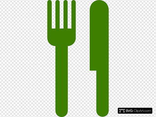 Green Knife And Fork