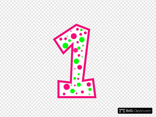 Number 1 Pink And Green Polkadot(r)