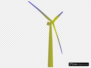 Wind Turbine Shaded Green And Blue