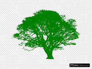 Tree Green On Black