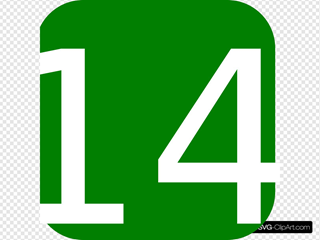 Green, Rounded, Square With Number 14