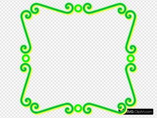 Green Scroll Art Label