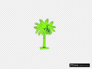 South Carolina Flag Palmetto With No Moon - Green