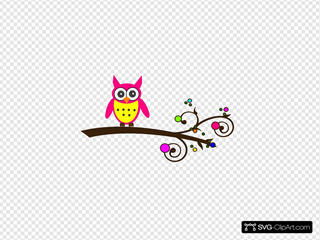 Pink Owl Colorful Branch3