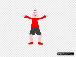 Tan Man In Red Shirt