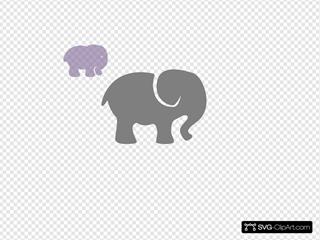 Grey Elephant With Lilac