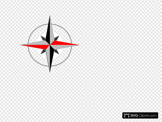 East West Compass Five SVG Clipart