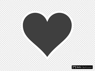 Grey Heart, White Outline.
