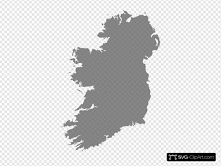 Grey Filled Map Of Ireland - No Outline SVG Clipart
