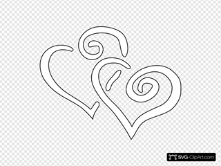 Curly Hearts Outline