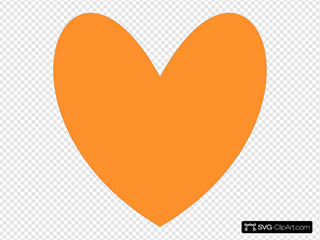 Orange Heart SVG Clipart