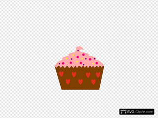 Pink Cupcake With Sprinkles Clip art, Icon and SVG - SVG Clipart