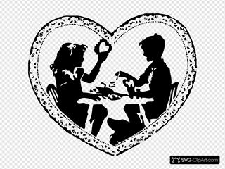 Two Children Making Valentines