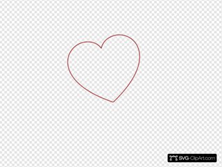 Red Outline Heart 7degree Left SVG icons