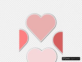 Various Shades Of Pink Hearts