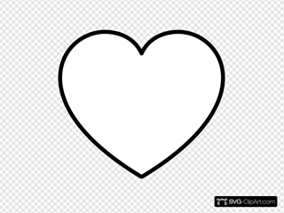 White Heart With Black Outline