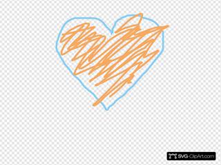 Blue And Orange Heart