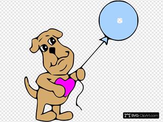 Dog Holding Blue Balloon