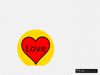 Red Heart In Yellow Circle