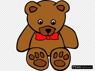 Simple Teddy Bear With Bow SVG Cliparts