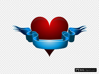 Red Heart With Blank Blue Ribbon