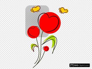 Heart Flowers With Butterflies