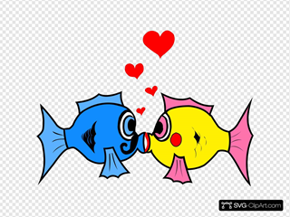 Kissing Fish With Hearts