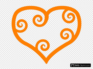 Curly Heart-orange