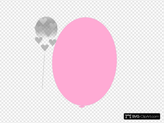 Red Balloon With Hearts Clipart