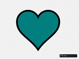 Teal, Heart, Black, Decor SVG Vector, Teal, Heart, Black ...